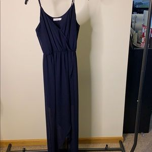 Navy hi-low dress